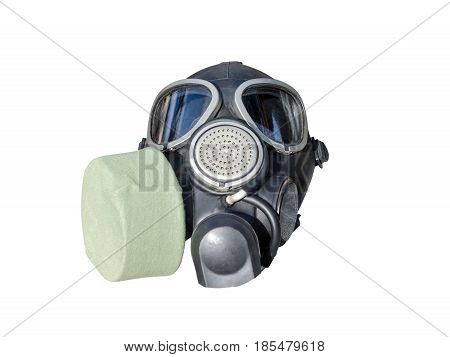 Two Military Rubber Elastic Gas Masks Isolated On White Background