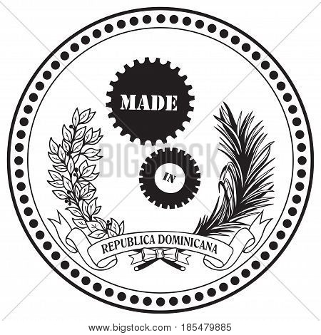 Industrial symbol in the stamp Made in the Dominican Republic