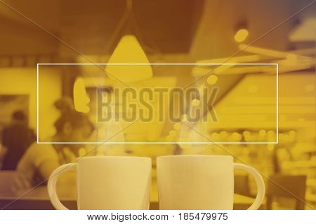 Empty White Frame On Yellow Duotone Of Two Cup Of Coffee At Cafe Background, Mock Up For Adding Your