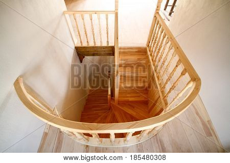 Very old spiral stairway case from atop