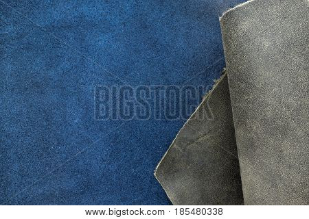Close Up Fold Grain Grey And Navy Blue Leather Texture Background,fabrics Division