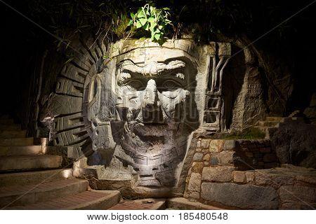 Inca Face Statue