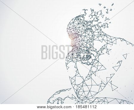 Lines connected to thinkers symbolizing the meaning of artificial intelligence.