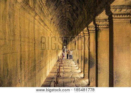 Angkor Wat Stone Hallway