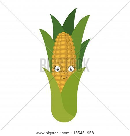 white background with corn cob caricature with leaves vector illustration