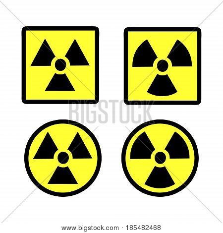 radiation round and square signs isolated on separate layers easily editable vector format