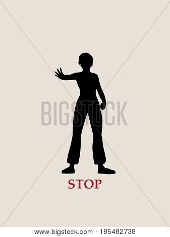 A young woman holding her hand in front to show stop gesture. Vector illustration
