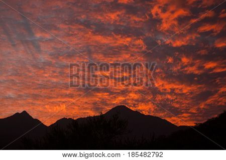 A bright coral sunset illuminating the sky while the mountains in front are silhouetted