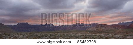A panorama of Red Rock National Conservation Area after a late afternoon rain.