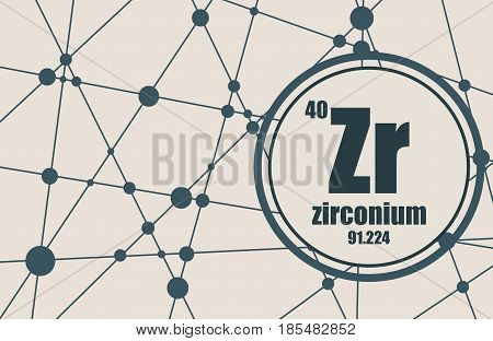 Zirconium chemical element. Sign with atomic number and atomic weight. Chemical element of periodic table. Molecule And Communication Background. Connected lines with dots.