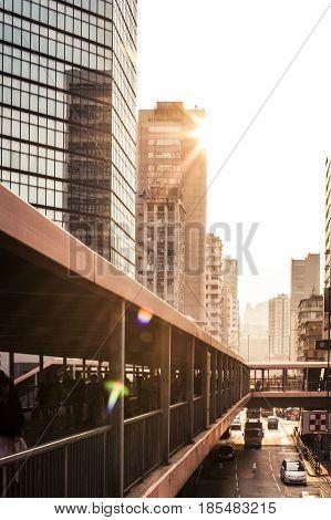 Overhead Walkway In Hong Kong