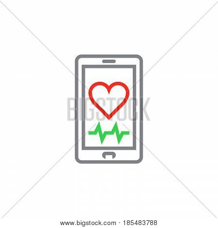 Heart rate mobile monitor symbol. Smartphone with heart line icon outline vector logo illustration linear colorful pictogram isolated on white
