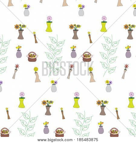 flower in vase with drawing leaf pattern background vector illustration image showing different flower and vase styles
