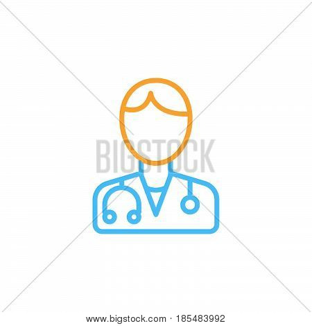 Male doctor line icon physician outline vector logo illustration linear colorful pictogram isolated on white