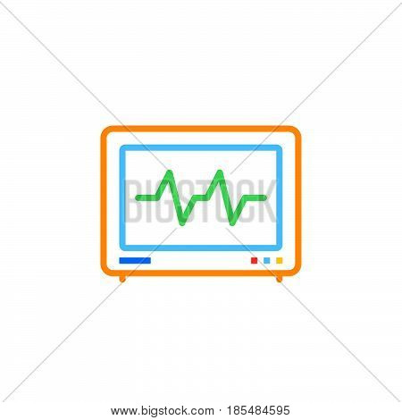 Electrocardiogram ECG line icon outline vector logo illustration linear colorful pictogram isolated on white