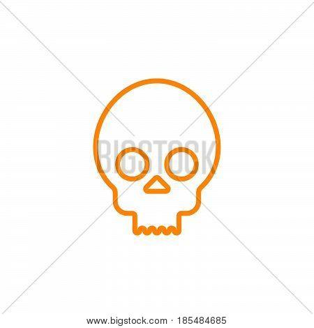 skull cranium line icon outline vector logo illustration linear pictogram isolated on white