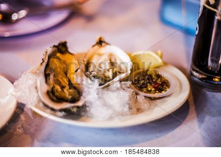 Fresh Oysters With A Spicy Chili Seafood Sauce