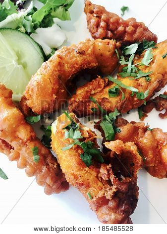 Indian chicken pakora with a side salad
