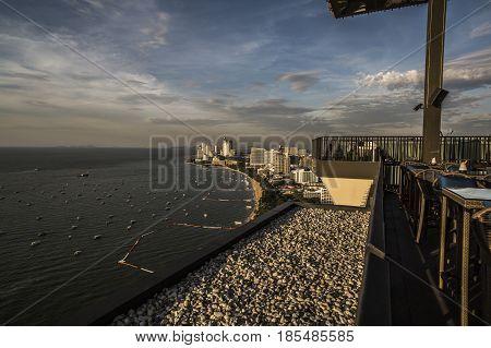 Pattaya Thailand - 1 December 2016: High view of the coast of Pattaya at sunset
