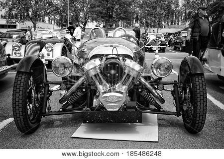 Berlin - May 11: Car Morgan, V-twin Three-wheelers (black And White), 26Th Oldtimer-tage Berlin-bran