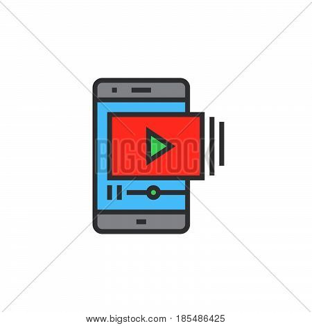 Mobile phone with video player line icon filled outline vector sign linear colorful pictogram isolated on white logo illustration
