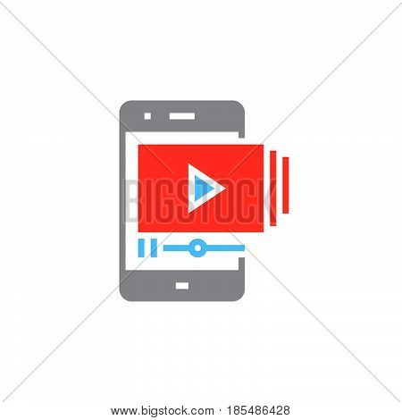 Mobile phone with video player icon vector solid sign colorful pictogram isolated on white logo illustration
