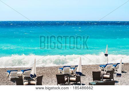 Beautiful Sea Coast In Nice, France.