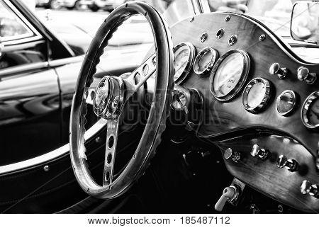 Berlin - May 11: Cab Car Jaguar Ss-100 Roadster (black And White), 26Th Oldtimer-tage Berlin-branden
