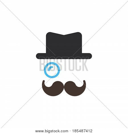 Monocle Mustaches Hat icon vector solid sign colorful pictogram isolated on white logo illustration