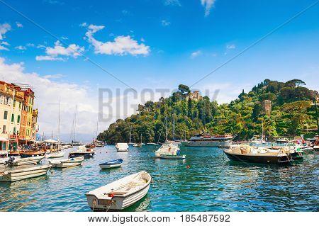 Beautiful Sea Coast In Portofino, Italy.