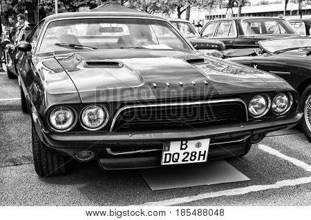 Berlin - May 11: Car Dodge Challenger (black And White), 26Th Oldtimer-tage Berlin-brandenburg, May