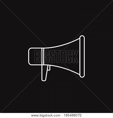 Megaphone Thin Line Icon, Bullhorn Outline Vector Logo Illustration, Linear Pictogram Isolated On Bl