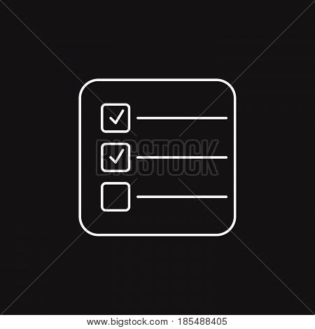 Form Thin Line Icon, Test Outline Vector Logo Illustration, Checklist Linear Pictogram Isolated On B