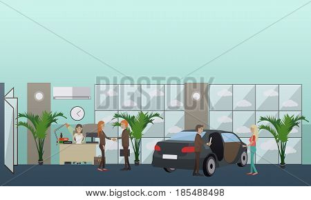 Vector illustration of car dealer male, receptionist female and buyers. Car shop or car dealership flat style design element.