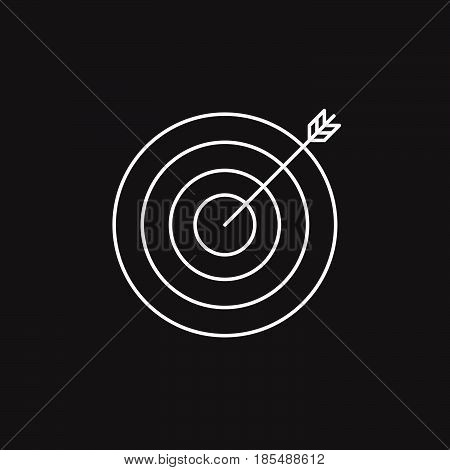 Target Thin Line Icon, Bullseye Outline Vector Logo Illustration, Linear Pictogram Isolated On Black