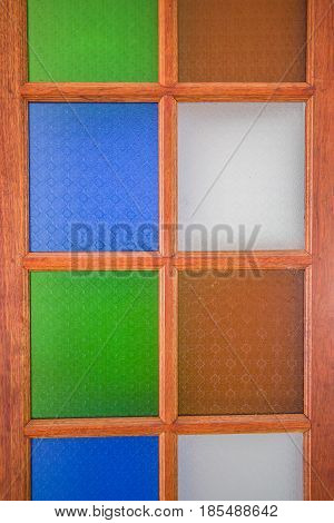 Background stained glass windows made of wood.