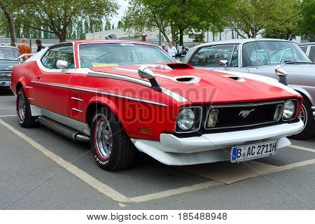 Berlin - May 11: Sport Car Ford Mustang Mach I, Front View, 26. Oldtimer-tage Berlin-brandenburg, Ma