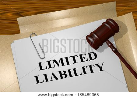 """3D illustration of """"LIMITED LIABILITY"""" title on legal document poster"""