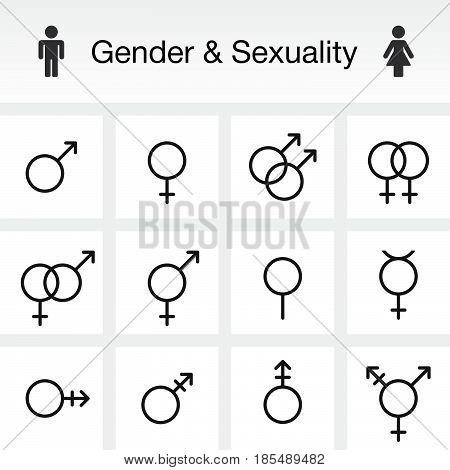 Gender & Sexuality Types. Line Icons Set, Outline Vector Symbol Collection, Linear Pictogram Pack Is