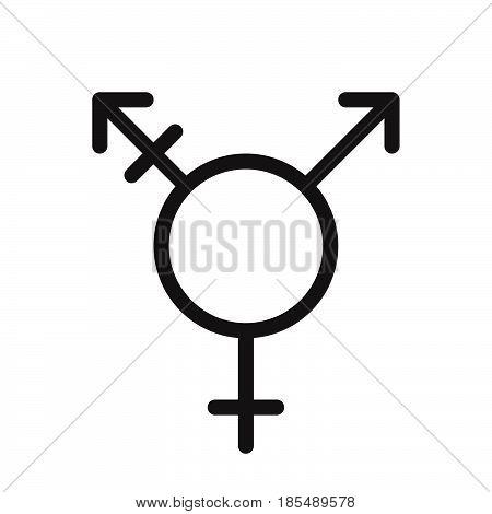 Transgender Symbol. Line Icon, Outline Vector Logo Illustration, Linear Pictogram Isolated On White
