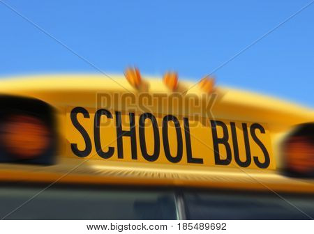 Zoom effect applied to an American school bus sign.