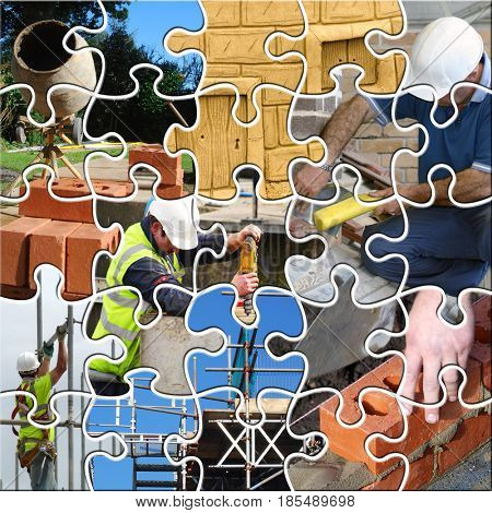 Jigsaw pieces about construction industry workers