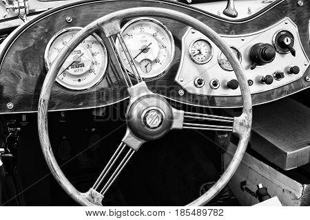 BERLIN - MAY 11: Cab Roadster 1951 MG TD Midget (black and white) 26th Oldtimer-Tage Berlin-Brandenburg May 11 2013 Berlin Germany