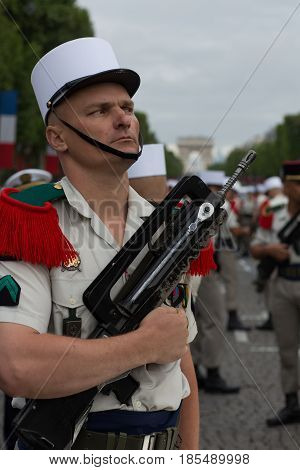Paris. France. July 14 2012. The Legionnaire of the French Foreign Legion takes part in the parade on the Champs Elysees in Paris.