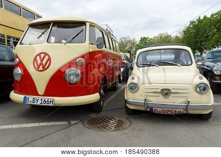 Berlin - May 11: Small Car Fiat Abarth 750 And Minibus volkswagen Type 2, 26Th Oldtimer-tage Berlin-