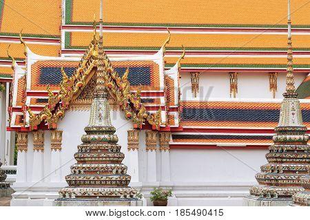 Stupas in Wat Pho (Wat Phra Chettuphon) Bangkok.Thailand