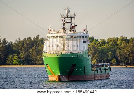 Offshore ship at Labuan Pearl of Borneo,Malaysia.Offshore ship are designed to perform a wide range of tasks associated with the offshore explorations & production of oil & gas.