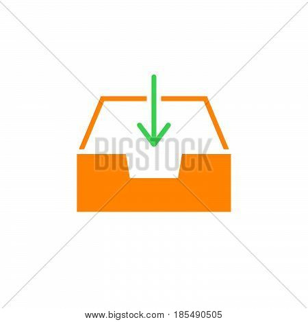 Inbox Icon Vector, Box And Arrow Solid Logo Illustration, Colorful Pictogram Isolated On White