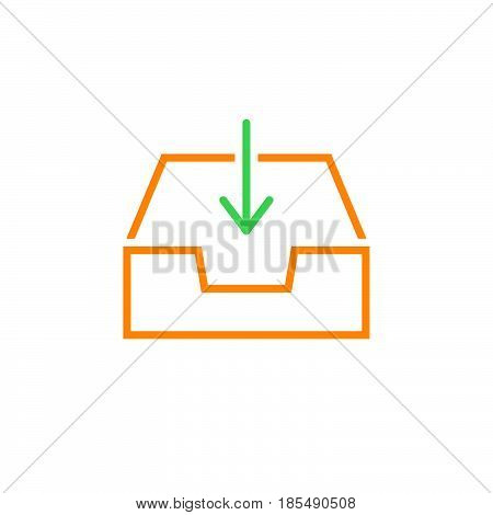 Inbox Line Icon, Box And Arrow Outline Vector Logo Illustration, Linear Pictogram Isolated On White