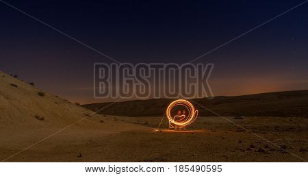 Light Paining In Night Desert